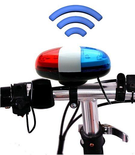 Bicikli ledes sziréna, elektromos csengő, 4-féle hanggal