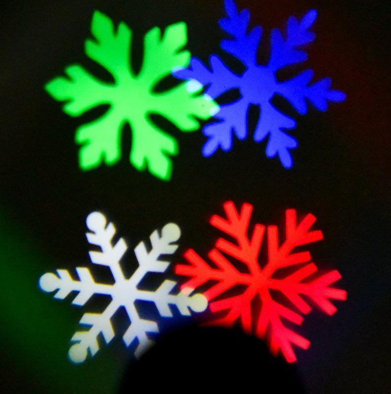 Színes, mozgó hópehely kivetítő, karácsonyi dekoráció