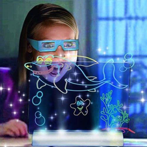 Átlátszó és világító rajztábla, 3D-s szemüveggel