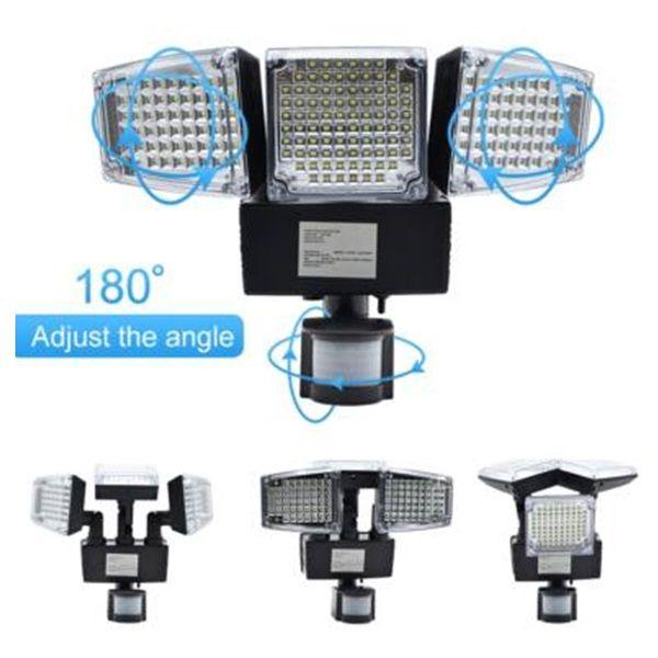 Napelemes lámpa mozgásérzékelővel, 178 db LED